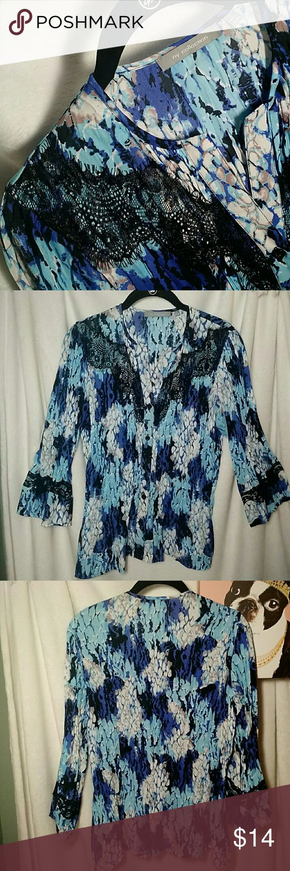 NWOT!  NY Collection Blouse Watercolor hues in blues!  Pleated all over w/black lace detail on front and sleeves.  Button down, no collar.  100% polyester.  Machine wash cold.  Line dry. NY Collection Tops Blouses