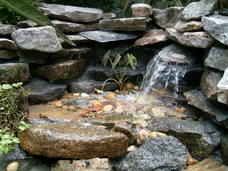 Small pond free waterfall small backyard ideas water for Small backyard water features