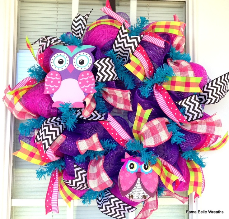 Owl wreath summer wreath spring wreath by BamaBelleWreaths on Etsy, $75.00