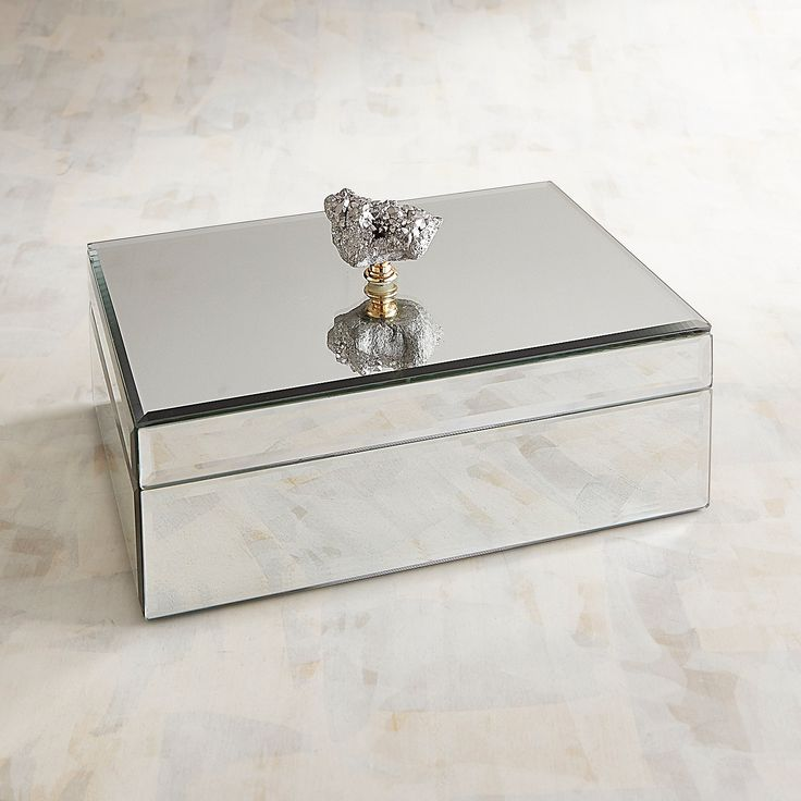 Mirrored Jewelry Box With Agate