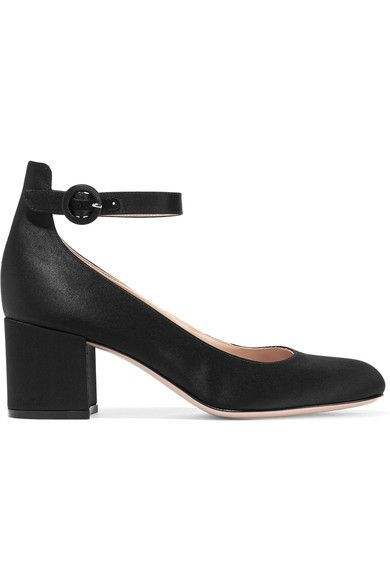 Gianvito Rossi - Satin Mary Jane Pumps - Black - IT37.5