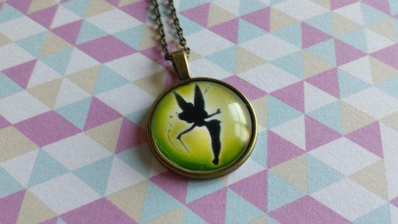 Disney Tinkerbell glass necklace pendant by SillySquirrelJewelry