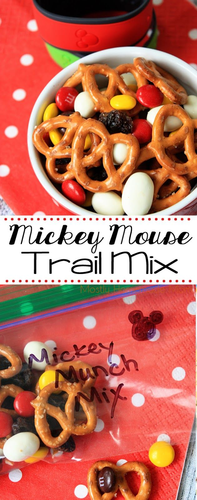 Mickey Mouse Trail Mix - absolutely adorable! Pretzels, yogurt covered raisins, and M&M's - this munch mix is perfect for your kids to snack on during their first trip to Disney World!