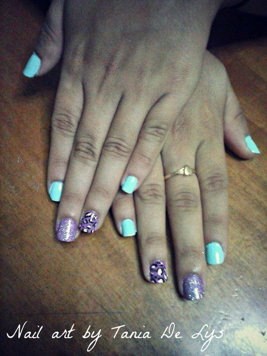 Mint and purple nails with leopar design