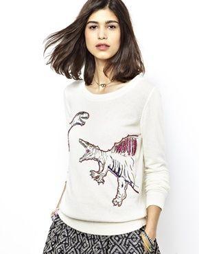 Essentiel Antwerp Jumper with Sequin Dinosaur Print