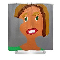 Patrick Francis - Shower Curtain featuring the painting Portrait Of A Young Girl 2015 by Patrick Francis