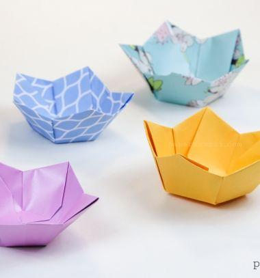DIY Easy origami flower bowl - paperfolding // Egyszerű virág alakú origami tálkák papírból - papírhajtogatás // Mindy - craft tutorial collection