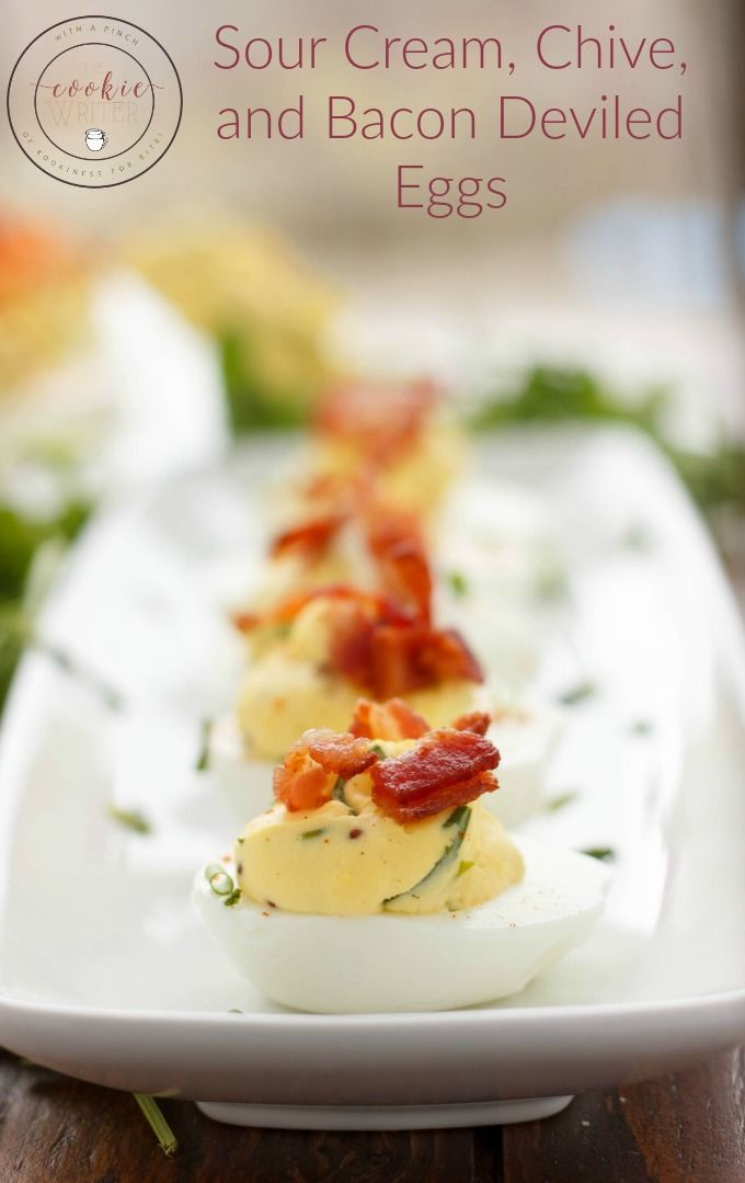 Sour Cream, Chive, and Bacon Deviled Eggs | http://thecookiewriter.com | @thecookiewriter | #appetizer