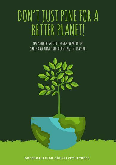 Green Illustration Environmental Protection Poster