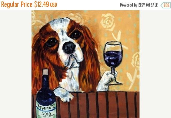 Cavalier King charles spaniel dog bathroom folk art print on tile coaster