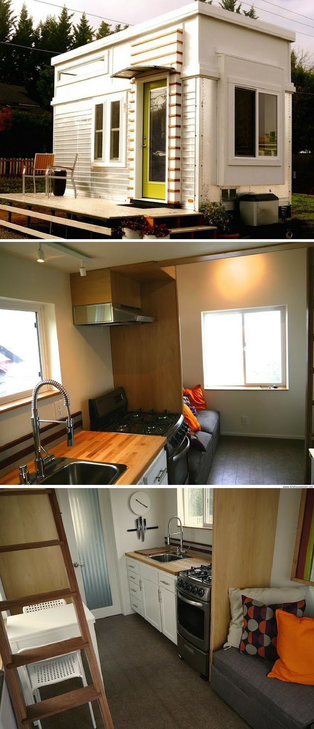 A former travel trailer remodelled into a 200 sq ft tiny house