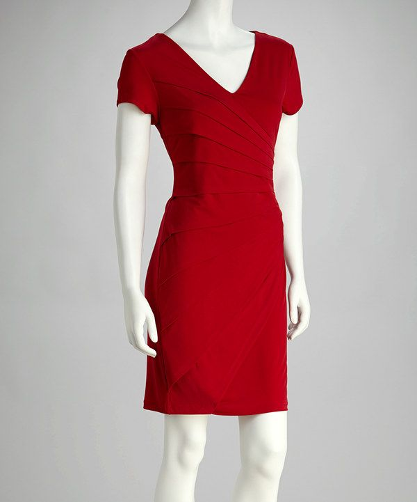 Take a look at this Red Pleated Short-Sleeve Dress on zulily today!
