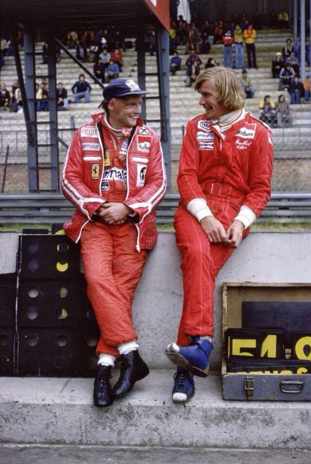 "Niki Lauda & James Hunt || It Looked So Weird To Me Because Im So Used To Seeing Niki And James From The Movie ""Rush"""