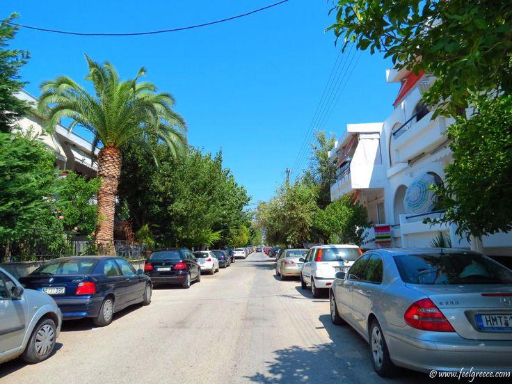 Village street in August early morning; photo from Nea Potidea, Kassandra