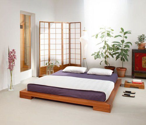 dormitotio con cama tipo futon y biombo japones