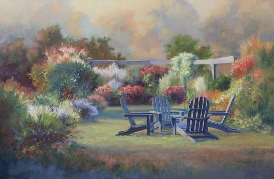 """A Garden Retreat - 24"""" x 36"""" Oil painting on canvas $3800."""