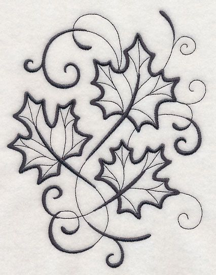 Inky Maple Leaves design (L5609) from www.Emblibrary.com