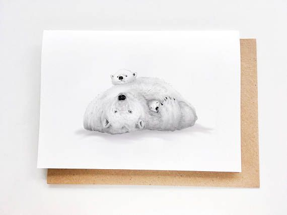 Mama Polar Bear & Cubs | Sweet Mother's Day Card, Mom Birthday Card, Handmade, Fête des mores, Madre, Muttertag, Card for mom, Thanks Mom
