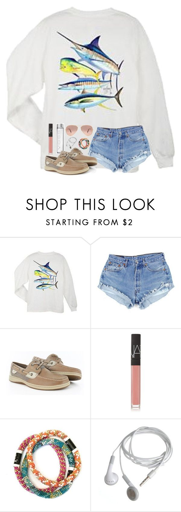 """""""Happy Friday!"""" by mmprep ❤ liked on Polyvore featuring Guy Harvey, Sperry, NARS Cosmetics and Ray-Ban"""
