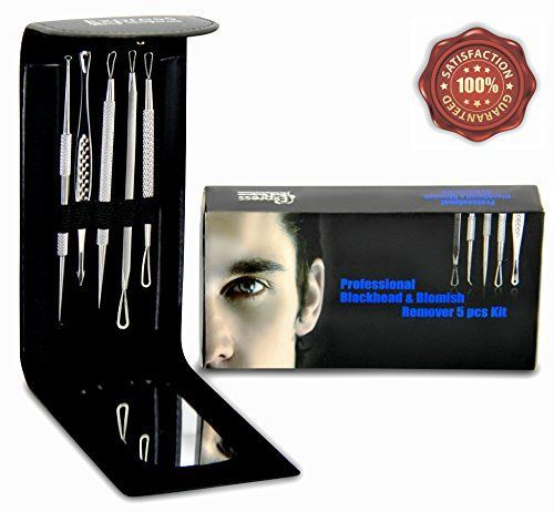 Professional Blackhead and Blemish Remover Kit 5pcs Blackheads Extractor Comedone Extractors Blemish Tools Blackhead Remover and Case with Mirror ** Check out the image by visiting the link.