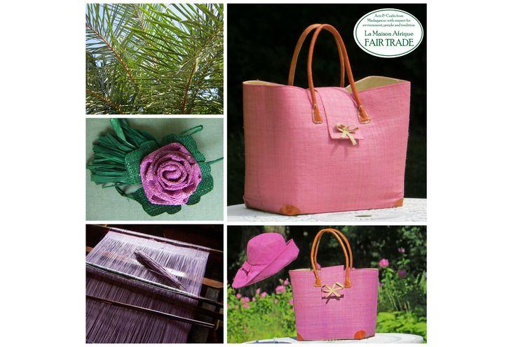 La Vie en Rose Crafts at Formex: Art nr 24106 Fairtrade Handbag Languette Rabane-Leather, matching hat and rose. Exhibitor La Maison Afrique FAIR TRADE