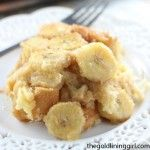Coconut Rum Banana Upside Down Croissant French Toast Casserole