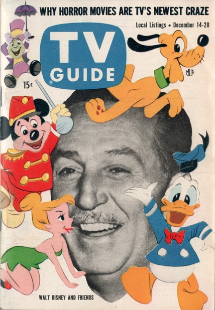 "Walt Disney and Jiminy Cricket, Mickey Mouse, Pluto, Donald Duck, Dopey of ""Disneyland"" December 14-20 1957"