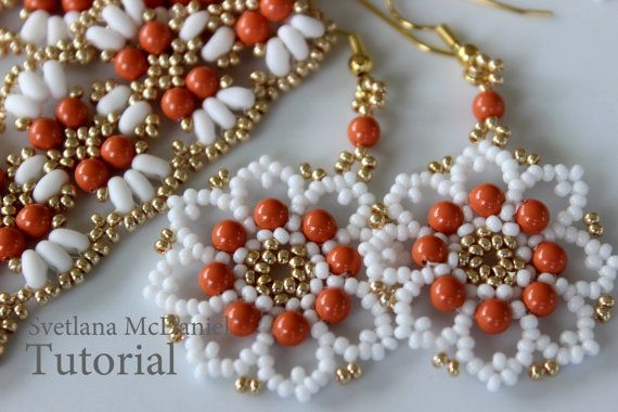 PDF tutorial beaded lace earrings_Swarovski by BeadsMadness