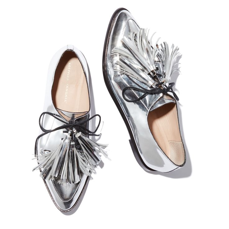 An oxford with tassels is always timeless (and especially good paired with feminine separates and dainty dresses), but this silver metallic leather version—updated with a pointed toe—is beyond cool. -