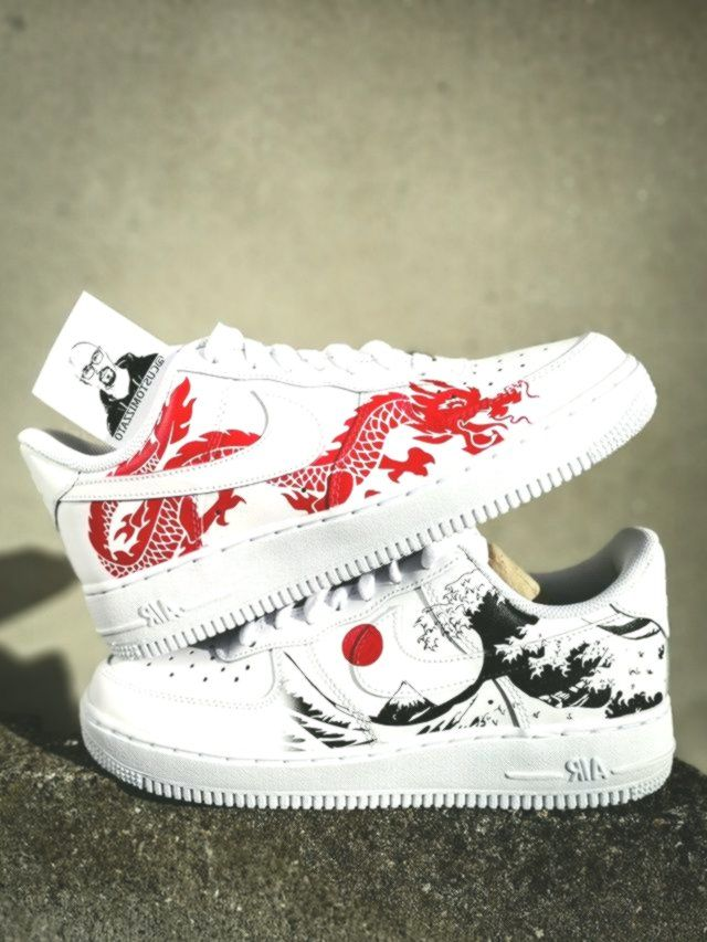 Custom sneakers Nike Air Force 1 Red dragon The Great Wave