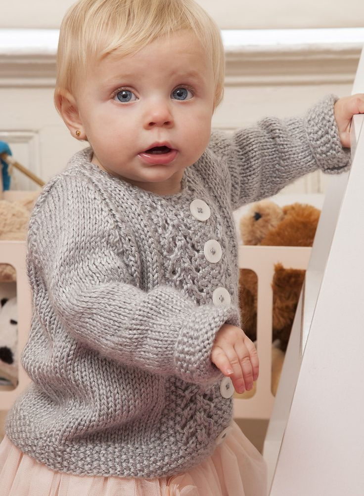 Free Knitting Pattern for Baby Lace Cardigan
