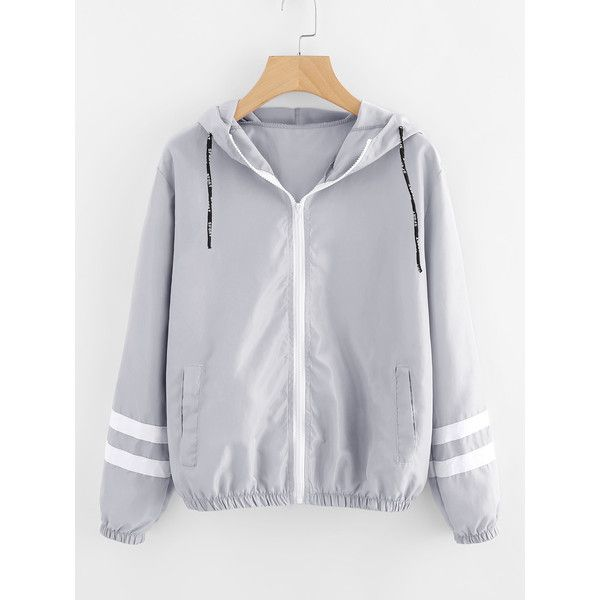 Varsity-striped Zip Up Hooded Jacket ($9.99) ❤ liked on Polyvore featuring tops, hoodies, grey, zip up hoodies, embellished collar top, zip hoodies, striped top and stripe top
