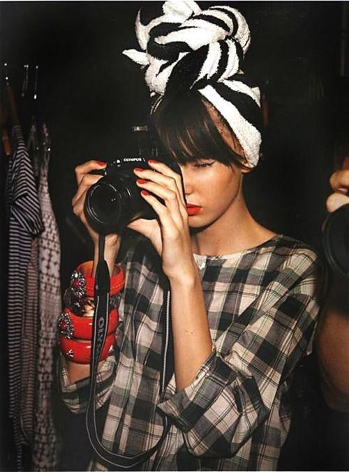Black & White head scarf