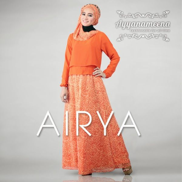 Ayyanameena Airya: Ayyanameena Airya Sunkist  #motif #chiffon #sifon #ayyanameena #airya #dress #moslem #hijab #jilbab #fashion #women #sunkist #orange