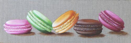 tableau macarons, peinture macarons