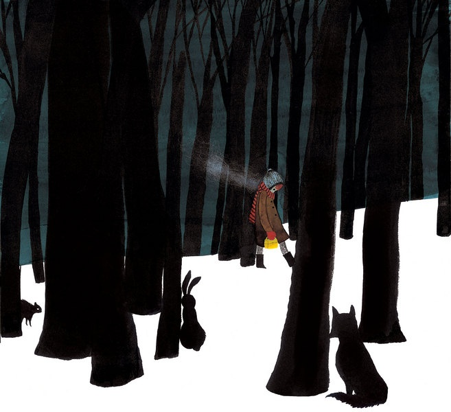 """""""Singing Away The Dark""""; one of the books nominated at the Canadian Children's Literature Awards, illustrated by Julie Morstad."""