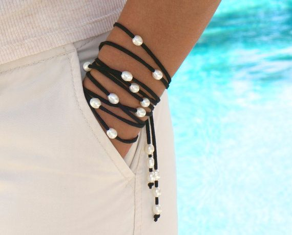 """FRESHWATER Pearl Boho Multi Wrap Bracelet / Anklet / Lariat Necklace - BLACK Faux Suede - 25 Pearls / 70"""" Cord - FITS All - Ref 416"""