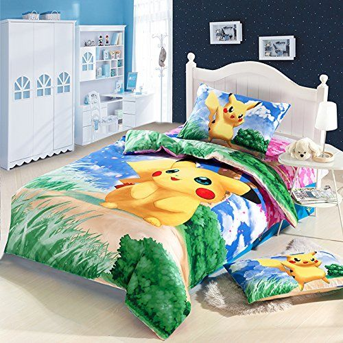 Can't find great bright bedding for your kids? Click here to find some awesome Pokémon bedding and décor ideas to make their room shine!!