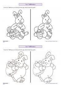 Les 7 différences de Pâques 7 fiches sur le thème de Pâques (lapin, poule, oeufs...) pour s'entraîner à chercher les 7 différences entre deux images.