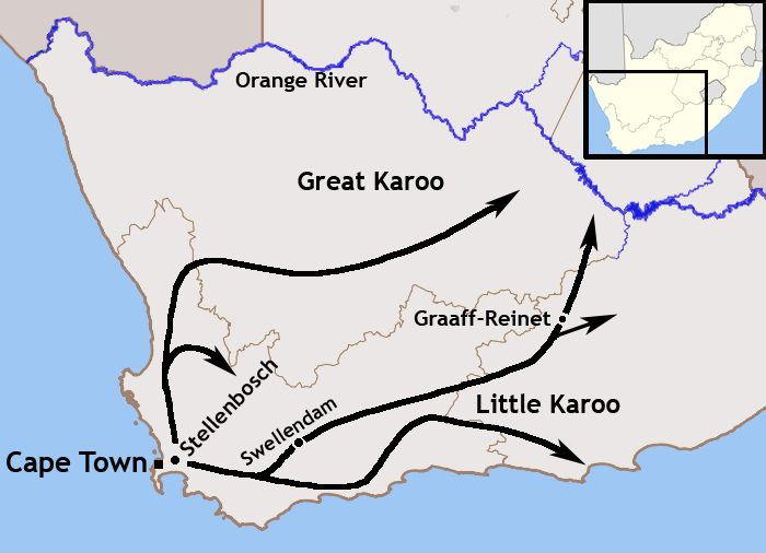South African colonization, by a combination of Dutch, French, Germans.  They called themselves Trekboers. A map of the expansion of the Trekboers out of the Cape Colony between 1700 and 1800