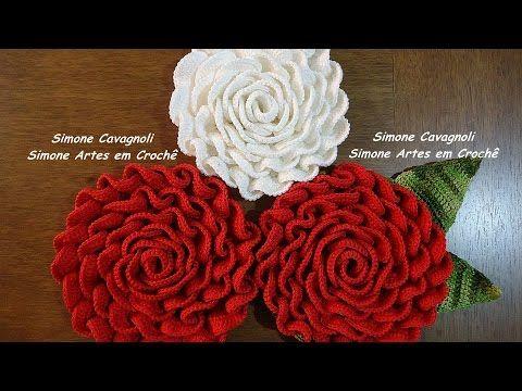 Mega Rosa!!! Simone Cavagnoli/ Simone artes em croche - YouTube