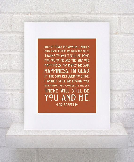 Led Zeppelin Lyrics  Thank You  11x14  poster print by KeepItFancy