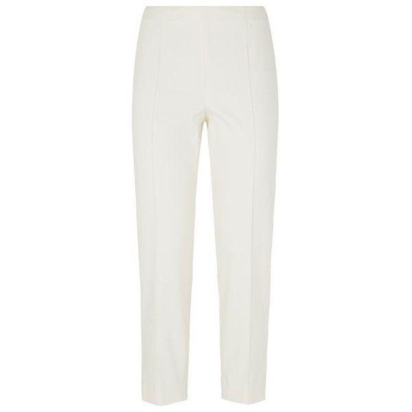 St. John Alexa Micro Ottoman Capri Trousers ($475) ❤ liked on Polyvore featuring pants, capris, cropped pants, white pants, cream pants, cropped capri pants and capri pants