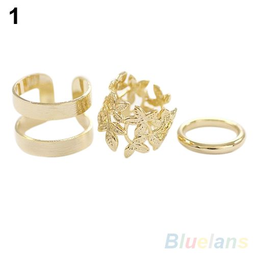 Bluelans 3Pcs Midi Finger Ring Set Silver Gold Stack Above Knuckle Band Rings 2 Colors