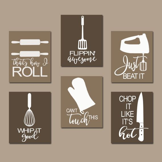 KITCHEN QUOTE Wall Art  Funny Utensil Pictures  CANVAS Or Prints Just Beat  It  How I Roll  Dinning Room Artwork  Set Of 6 Choose Your Colors