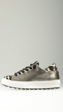 Charcoal cracklè leather platform sneakers