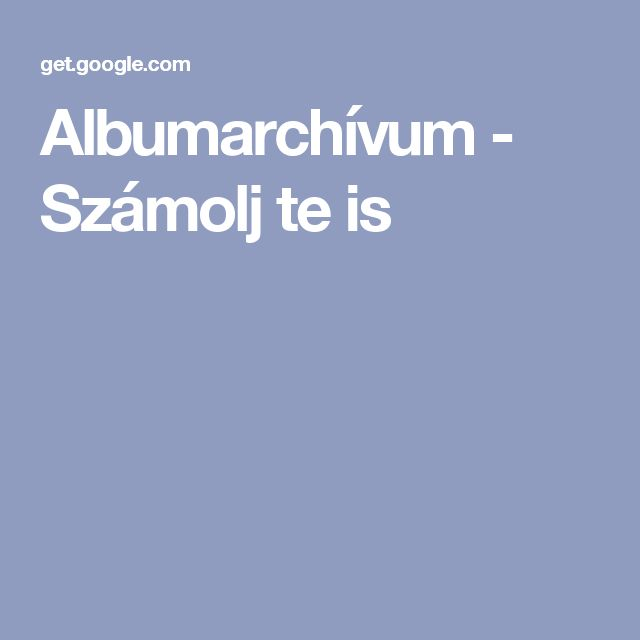 Albumarchívum - Számolj te is