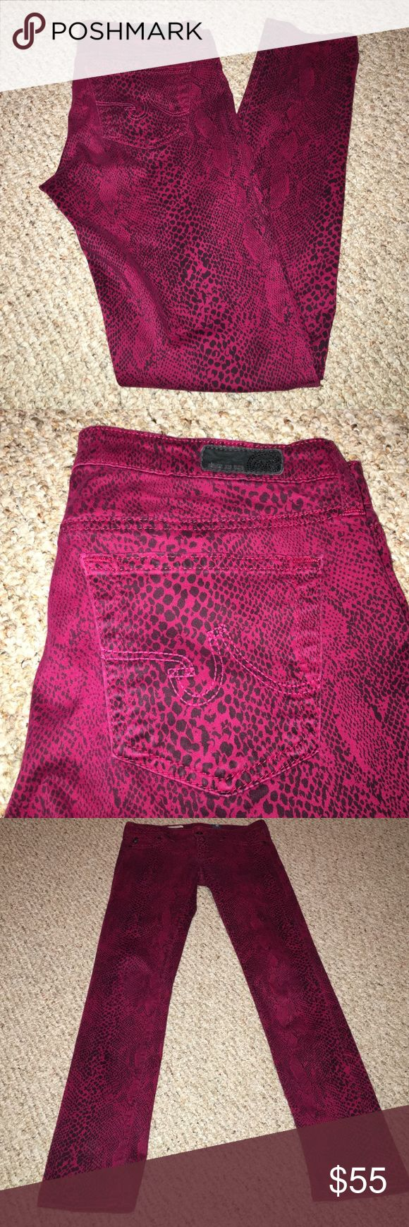 """Anthropologie Adriano Goldschmied Red Leggings EUC. The legging. Super skinny fit. Size 27. Inseam 31"""". Reptile design. Soft cotton blend. AG Adriano Goldschmied Pants Skinny"""