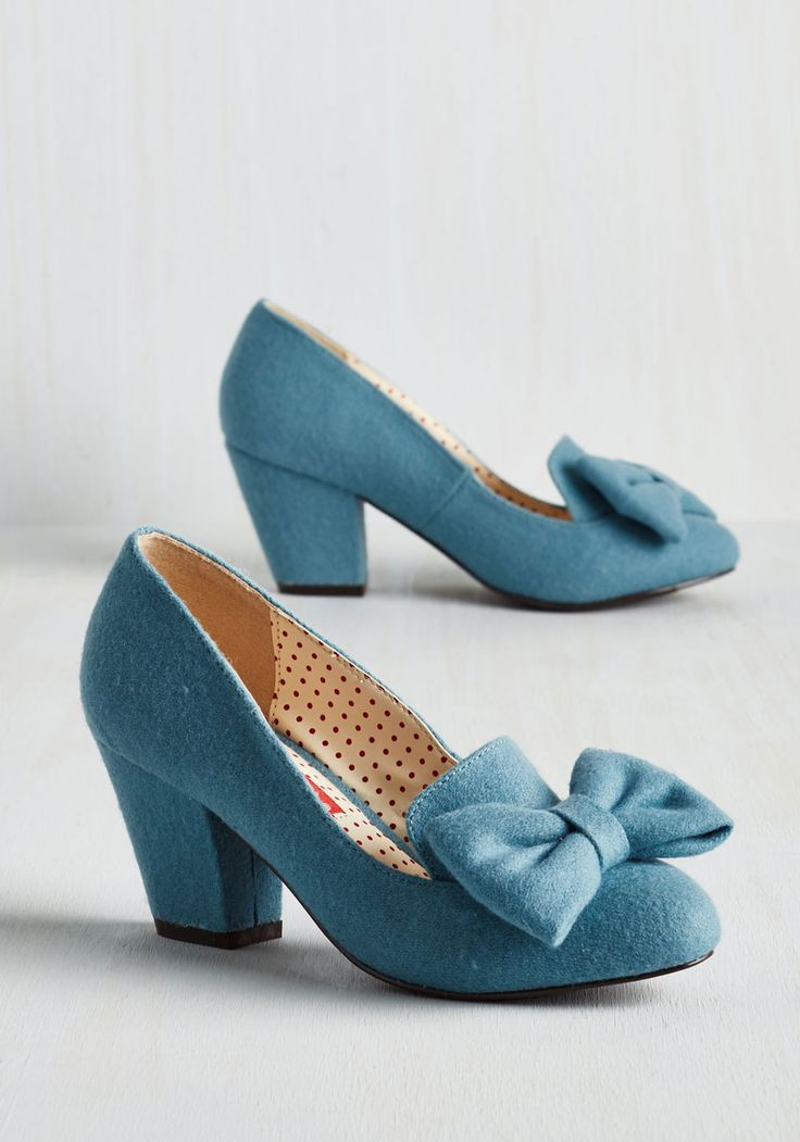 Peppy Planner Heel in Sky. With the help of spreadsheets, lists, and seating charts, precision is your name, and these bow-accented heels by Bait Footwear accompany you to all the events youve organized! #blue #modcloth