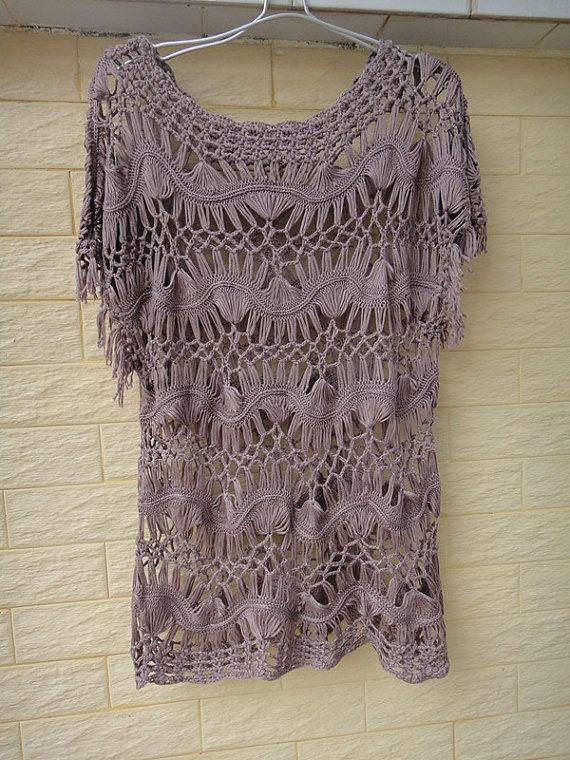 """Hairpin Crochet Womens Clothing Lace Blouse Hippie Fringed Top LAVENDER sexy piece, Ideal for layering, So bohemian chic! It is a must-have for your autumn and winter wardrobe. measured 24"""" in length"""
